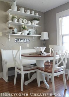 church pews in home decor | Clean Cottage Decor Home Tour - love the church pew bench! Love the ...