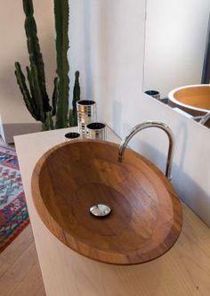 vasque ovale en teck