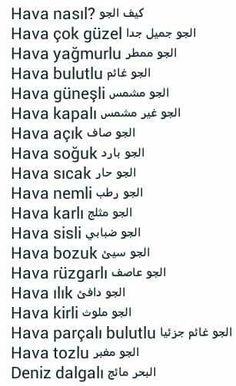 وصف الجو بالتركية Learn Turkish Language, Arabic Language, Learn A New Language, Learn Turkish Online, Learn Arabic Online, Turkish Lessons, Neon Quotes, Arabic Phrases, English Language Learning
