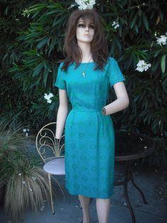 Vintage 1950's/1960's  Green blue Vintage Sheath //  Mad Men  Wiggle Dress. $79.00, via Etsy.