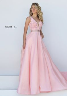 V-neck Sherri Hill 50233 Blush Beaded V-back Long Cheap Prom Dresses 2016 Open Back Prom Dresses, Sherri Hill Prom Dresses, Prom Dresses 2016, Pink Prom Dresses, Designer Prom Dresses, Blush Dresses, Prom Dresses Online, Cheap Prom Dresses, Trendy Dresses