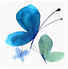Butterfly Watercolor, Watercolor Cards, Watercolour Painting, Painting & Drawing, Watercolors, Watercolor Trees, Watercolor Artists, Blue Butterfly, Abstract Paintings