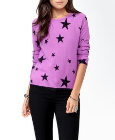 Ditsy Star Print Sweater in purple and black  #sweaterweather