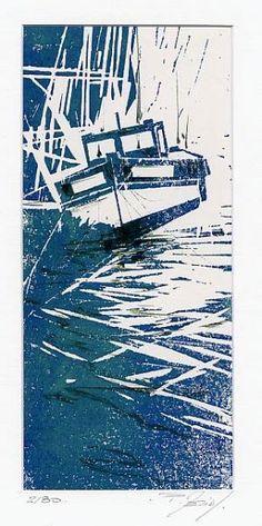 LINOGRAVURE :BATEAU ECHOUE - aquarelles philippe merias