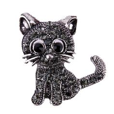 Vintage Black Crystal Cute Cat Brooch Pins Women Brooch 2018 Fashion pin up Brooch Accessories. Product ID: Silver Brooch, Silver Rhinestone, Crystal Brooch, Cat Safe Plants, Cat Themed Gifts, Cute Cats Photos, Cute Black Cats, Women's Brooches, Cat Jewelry