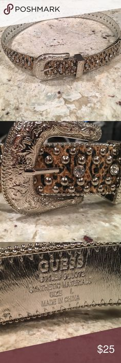 Guess Jeweled Belt Guess animal print jeweled belt in size large  ......................... 🚫 - No Trades! 🚭 - listings from a non-smoking home 📬 - fast shipping 💌 - Feel free to make an offer!  💯 - items as described, feel free to ask questions  🔍 - search my closet for other great listings! 🛍 - Happy Shopping! Guess Accessories Belts