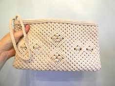 vintage 70s Macrame Woven Clutch / Natural Woven by styleforlife, $42.25