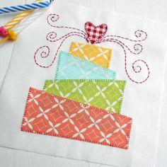 Block 15 - Birthday Cake.  Created from Summerfest fabric for The Splendid Sampler (bonus Block).