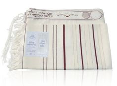 Wool Ma'alot Tallit with Bordeaux and Gold Stripes by World of Judaica. $88.00. This wool Ma'alot Tallit features Bordeaux and gold-colored stripes on the sides together with white bands as well as a white, gold and red Atara at the top, Tzitzit strings and tied fringes on the sides. This bright wool Ma'alot Tallit has Bordeaux and gold stripes accenting thin and thick white bands that run down the sides and has knotted fringes on its outer edges. The Tallit has an Ata...