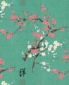 Golden Garden Teal Oriental Cotton Fabric by Alexander Henry x 1/2 Metre + | eBay