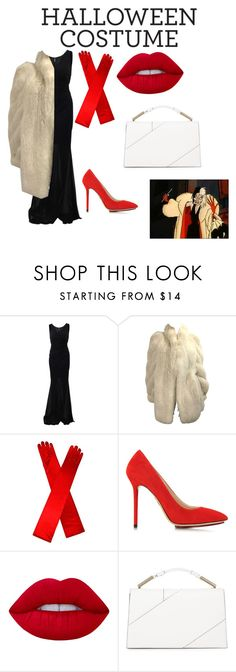 """Cruella deville Halloween DIY costume"" by dianamarierg ❤ liked on Polyvore featuring Blumarine, Charlotte Olympia, Lime Crime, Jason Wu, halloweencostume and DIYHalloween"