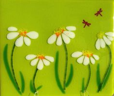 Unique handmade glass splashback design- Cone Flowers on Spring Green | Glassification