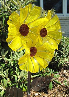 sunflower garden art glass flower-yard art-sun-catcher-glass