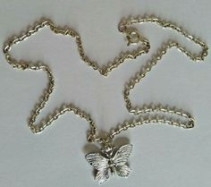 Silver tone Chain with silver tone Butterfly pendant Costume Jewellery  A950 Pretty Necklaces, Silver Necklaces, Fashion Jewelry Necklaces, Jewellery, Butterfly Pendant, Vintage Silver, Silver Color, Costume Jewelry, Pendant Necklace
