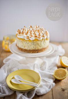 poppy seed cheesecake with lemon curd & italian meringue