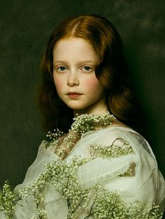 Melo Ludwig by Jingna Zhang | #portrait #fineart #renaissance #painting-like #flowers #babysbreath #zemotion #photography #child #model