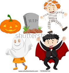 Kids in halloween costumes illustration