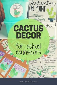 Watercolor cactus decor for school counselors: includes bunting, posters, notes from the counselor, award certificates for kindness and character, and circle labels. Perfect for decorating and organizing your school counseling bulletin boards!