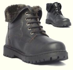 Womens Brown Leather Winter Snow Walking Casual Lace Up Ankle Boots UK 4-6 37 39