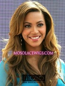 Lace Front Wig Beyonce Knowles wavy celebrity hair 20'' #8 medium ash brown 100% human hair - www.mosolacewigs.com  Lace Front Wig Beyonce Knowles wavy celebrity hair 20'' #8 medium ash brown 100% human hair