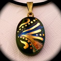 Moss  Green dichroic glass pendant hand painted in by GoldenGlow, $35.00