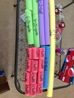 Fraction strips!  Teaches students to put the basic fractions in order.  Team teachers genius idea of using pool noodles to show the fractions in comparison to each other!