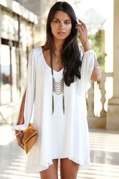 White Chiffon A Line Mini Dress