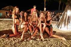 Girls Gone Swimming - Alessandra Ambrosio, Joan Smalls, Candice Swanepoel, Behati Prinsloo, and Lily Aldridge bonfire beauties during the exclusive Maroon 5 performance at Palomino Island as featured in the @victoriassecret Swim Special which filmed in Puerto Rico.