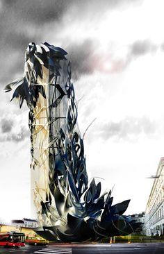 - bygningen et skulpturværk i sig selv - noget der vil tiltrække folk