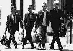 Ewan McGregor, Robert Carlyle, Ewen Bremner and Jonny Lee Miller in Trainspotting. Directed by Danny Boyle, movie released in 1996.