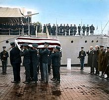 USS Olympia (C-6) - Arrives with the Unknown Soldier from World War 1 at the US Navy Yard Washington Circa 1921 http://en.wikipedia.org/wiki/USS_Olympia_(C-6)