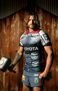 NRL, North Queensland Cowboys player Ashton SIms wearing the new THOR Marvel Comic Kit Cowboys Players, Cowboys Men, Rugby Players, National Rugby League, Brisbane Broncos, New Thor, Sports Marketing, Beefy Men, Home Team