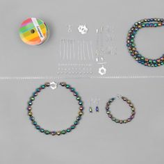 Create fabulous party jewellery with this collection of Rainbow Haematite, Threading Materials and Findings