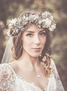 ethereal bohemian bride with a stunning flower crown - brides of adelaide
