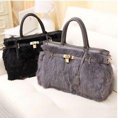 Fur handbag Tote Luxury Bag Grey/Blue/Black