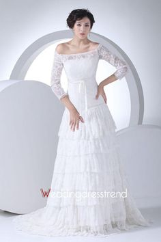 Wholesale Glamorous Tiered Off-the-Shoulder Lace A-line Wedding Dress - Shop Online for Wedding Dresses at Low Prices