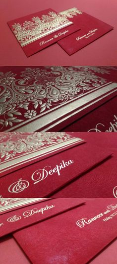 RED MATTE EMBOSSED WEDDING INVITATIONS..#weddings #invitations #love #bridal #groom #classic #trends #royal #new