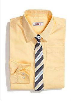 Izod Oxford Long Sleeve Shirt & Clip-On Tie Set in Yellow - Boys Size 5  NWT #IZOD #DressyEveryday