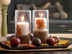 DIY fall centerpiece: tall candle holders, white candles, beans, leaves and yarn. Coffee Table Centerpieces, Decorating Coffee Tables, Table Decorations, Centerpiece Ideas, Cupcake Decorations, Coffee Theme Kitchen, Kitchen Decor Themes, Fall Table, Diy Candles