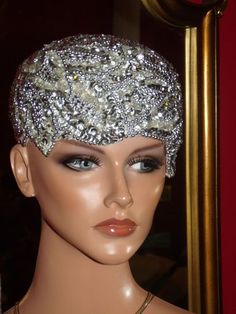 Beaded 1920 Flapper Cloche Hats | Flapper Hat Cloche 1920 Theme Beaded Silver Sequins