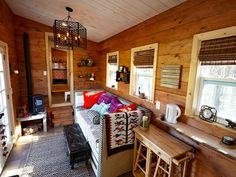 The Nomad's Nest is a gooseneck tiny house created by Wind River Tiny Homes. This house was featured in the second season of Tiny House Nation on FYI. Tiny House Big Living, Tiny Living Rooms, Tiny House Plans, Tiny House On Wheels, Small Living, Home Living Room, Living Area, Kitchen Living, Tiny House Layout
