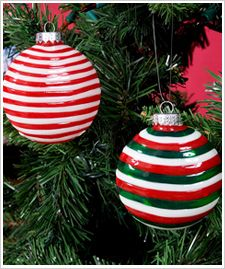 DIY Candy Striped Christmas Ornaments created with Gallery Glass Window Color by Plaid. #crafts #holidays