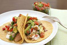 Fish tacos with grapefruit-avocado salsa