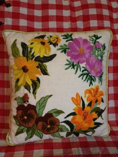 SALE Cute Vintage Retro Floral Hippy Hippie Boho Flowers Throw Decorative Pillow