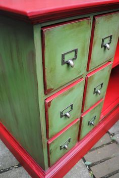 catalog cabinet drawers - Annie Sloan Chalk Paint Antibes Green mixed with Graphite, Emperor's Silk - soft and dark wax