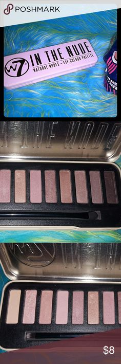 W7 eyeshadow palette This a shadow palette is made up of 12 colors some Matt and some shimmery. I have used maybe four of the colors lightly switched only. It does come with the original brush and most of the colors have not even been touched. It has been compared to Urban decay's naked collection. W7 Makeup Eyeshadow