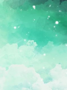 Pure Blue Green Gradient Clouds Watercolor Background