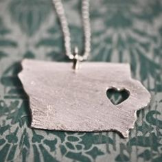 Items similar to i heart Iowa Necklace - Silver Iowa State Necklace State Heart Charm Map Jewelry Iowa Pendant Handmade Jewelry IA Pendant Personalized on Etsy Heart Charm, My Heart, State Necklace, State Jewelry, Precious Metal Clay, Iowa State, Along The Way, Silver Necklaces, At Least
