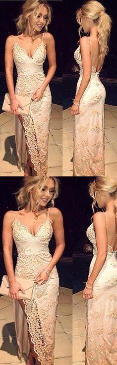 Charming Prom Dress,Elegant Prom Dress,Lace Prom Dress,Spaghetti Straps Prom Dress,Backless Evening Dress,V-Neck Prom Dress,Appliques Prom Gown,Sleeveless Prom Dress, Prom Dresses