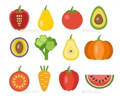 Vegetables And Fruits Icons